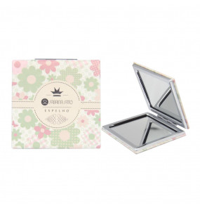 Espelho Quadrado de Bolso Floral Bege Sabrina Sato