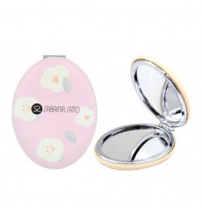 Espelho Oval de Bolso Flores Brancas Sabrina Sato